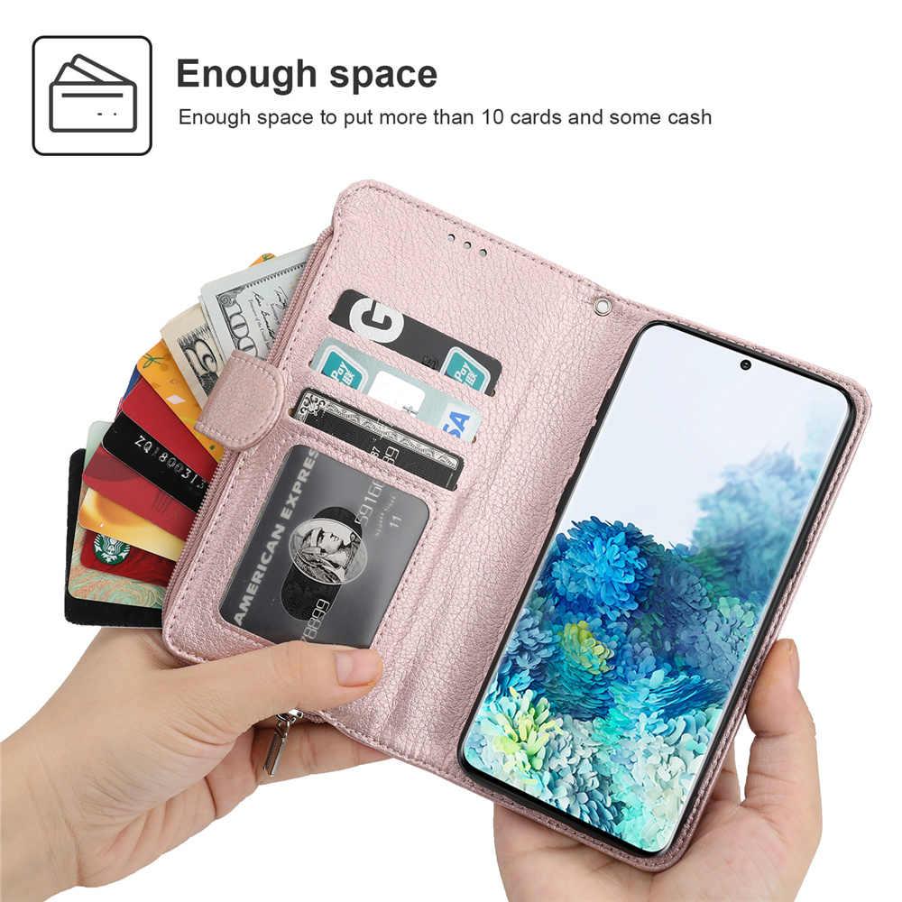 יוקרה ארנק עבור Samsung S20 Ultra עור רוכסן מקרה לסמסונג גלקסי S20 S10 E S9 S8 הערה 8 9 10 בתוספת 5G כרטיסי טלפון כיסוי