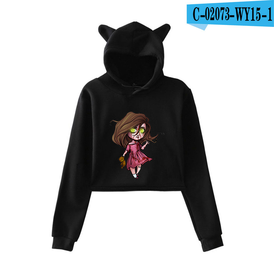 unique horror atmosphere of black humor creepypasta  print fashion trend Cat ears Top Women Hoodies Sweatshirt Sexy clothes 12