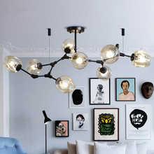 Modern E27 Black Iron LED Chandelier Lighting Suspension Line Indoor Living Room Chandeliers Light Fixture Bar Crystal Lustre