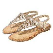 цена на Fashion Summer Women Wedges Shoes Bohemia Style Sandalias Beach Shoes 2019 Crystal Flip Flops Plus Size Leisure Sandals 4 Styles