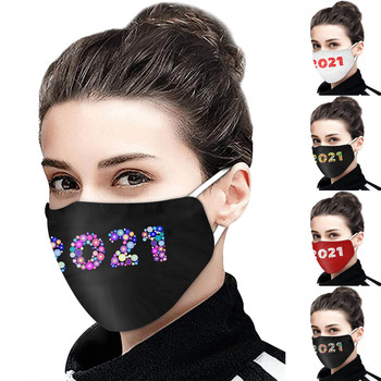 H-appy New Year 2021 Adult Cotton Mask Solid Color Protection Windproof Mouth-muffle bacteria proof Flu Comfortable Mask#30 image