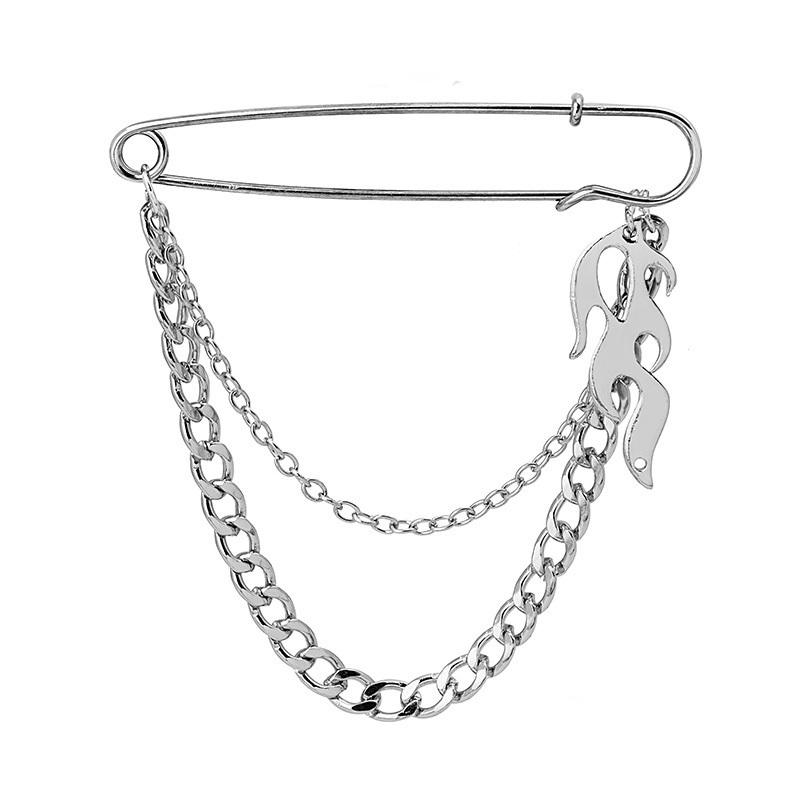 Wgoud Fashion Vintage Punk Silver Color Metal Chains Flame Cross Brooch Pin Men Suit Shirt Collar Tassel Chain Lapel Pin