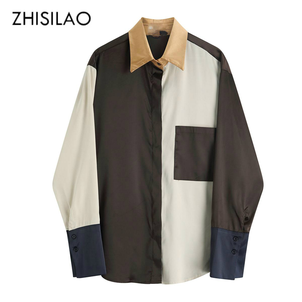 Satin Patchwork Vintage Blouse Women Elegant Retro Spring Women Tops and Blouse Casual Long Sleeve Shirt Mujer 2020