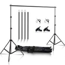 Suporte de fundo de estúdio de vídeo para fotografia, 2x3m/6.5x10ft, sistema de suporte de fundo ajustável com estojo de transporte