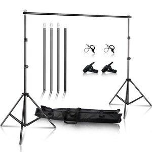 Image 1 - Support de fond réglable pour photographie ou vidéos, système de support de fond avec sac de transport, 2x3m