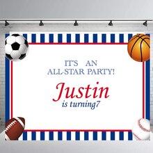 Все звезды спортивные темы день рождения фон на заказ Красные Синие полосы Фон фотографии Конфеты стол Баннер студия реквизит B-401