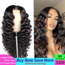 Perruque Lace Closure Wig Remy malaisienne, cheveux naturels, Loose Deep Wave, 4x4, 13x4, densité 180, pour femmes africaines