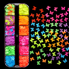 Fluorescence Nail Glitter Flakes Butterfly Love Neon Sequins 3D Nails Accessories Gel Polish Manicure Nail Art Decorations