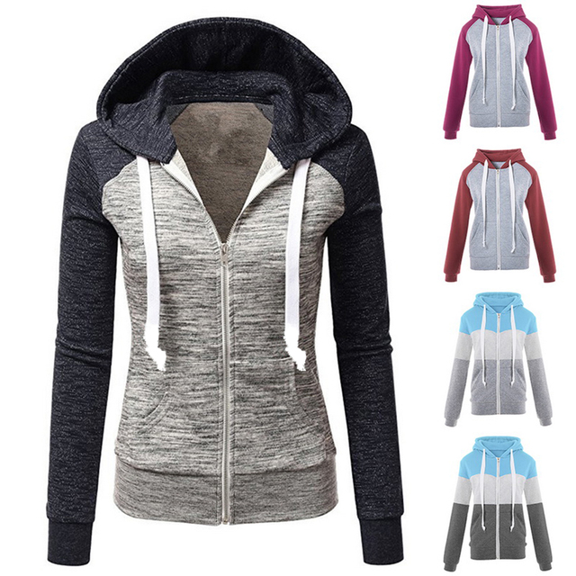 2020 Zipper Warm Fashion Hoodies Women Long Sleeve Hoodies Jackets Hoody Jumper Overcoat Outwear Female Sweatshirts 5