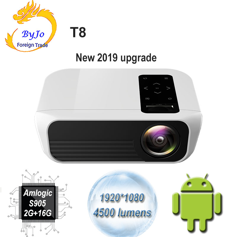 ByJoTeCH T8 LED projector 1920*1080 Full HD 1080P Android 7.1 4500 Lumens Amlogic S905 2G 16G Proyector Beame Home Theater image