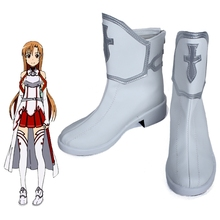 New Anime Sword Art Online Cosplay Shoes SAO Yuuki Asuna Ankle Boots Halloween Party for Women