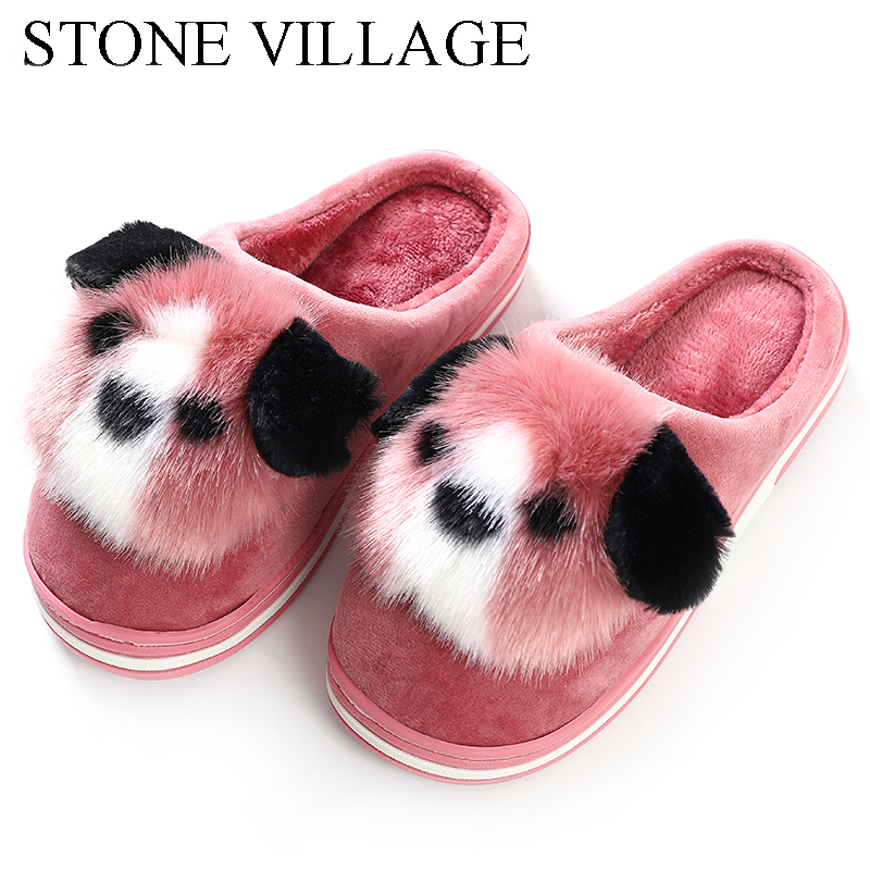 STONE VILLAGE Women Slippers Lovely Dog Animal Prints Mix Colors Flat Indoor Shoes Women Plush Warm Home Slippers Size 36-41