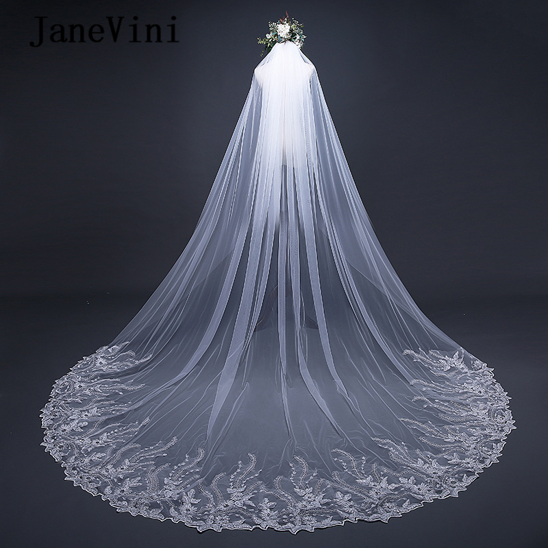 JaneVini Elegant Ivory Long Cathedral Wedding Veils One Layer Lace Appliques Edge Crystal Bridal Head Veil Wedding Accessories