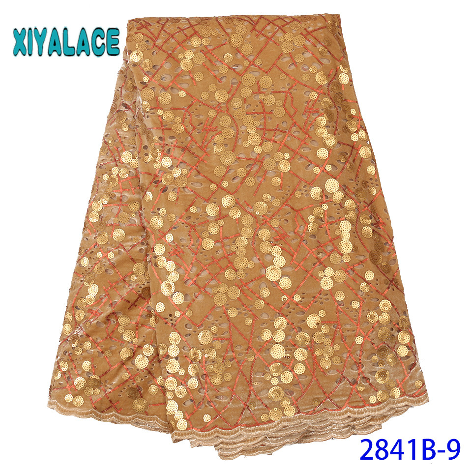 Golden 2019 African Lace Fabric Nigerian French Lace Luxury High Quality Sequins Lace Fabric Fabric For Wedding YA2841B-9