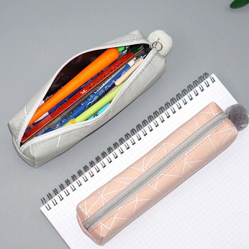 Купить с кэшбэком Concise Solid Color Canvas Pencil Case Kawaii Pencil Case for Girls Boy School Student Stationery Hairball Pencil Bag Pencilcase
