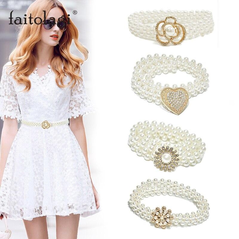 Summer Pearl Ladies Dress Belt Elegant Flower Heart Women Waist Belt Elastic Chain Female Belt Girls Crystal Strap Waistband