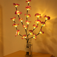 Ramo de luces LED de simulación para decoración de hogar, cadena de luces con 20 bombillas de 73cm para jarrón navideño de Año Nuevo, para decoración de ramas de flores de escritorio y jardín