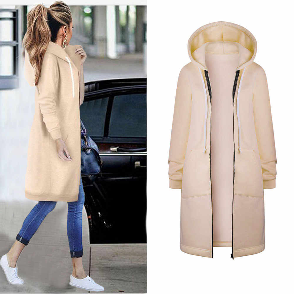 2019 Autumn Winter Casual Women Long Hoodies Sweatshirt Coat Zip Up Outerwear Hooded Jacket Plus Size Outwear Tops Dropship 823