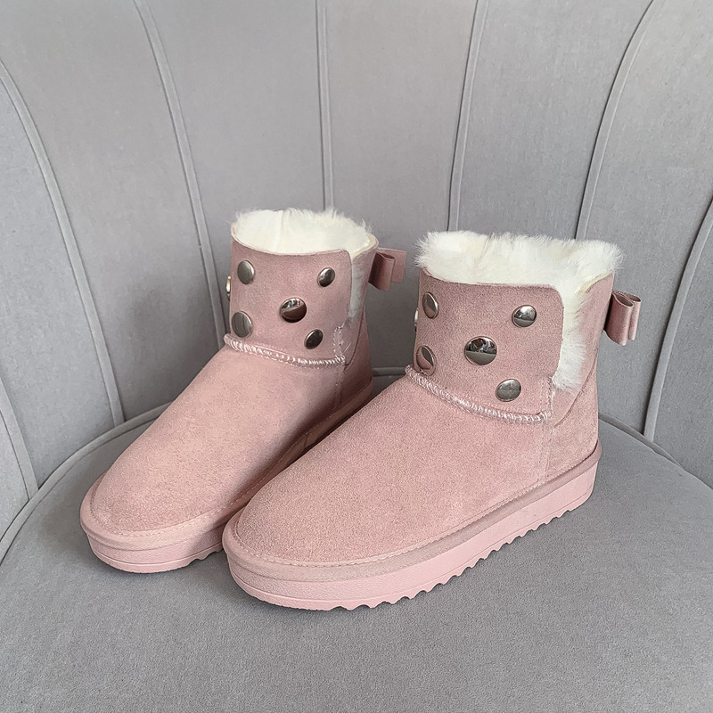 MORAZORA 2020 new hot sale snow boots comfortable flat heel round toe rivets winter shoes keep warm sweet pink ankle boots women 58