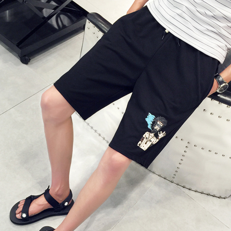 2017 Teenager Cool Basketball Shorts Men's Summer Breathable Fitness Sports Basketball Shorts Loose-Fit Shorts Black And White W