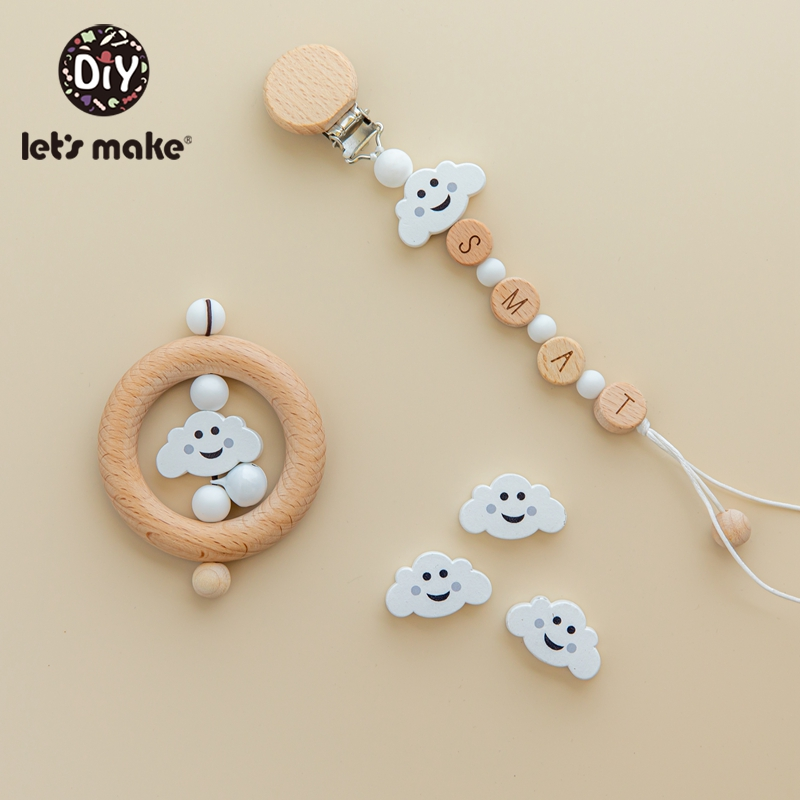 Let's Make Animal Beads 50pcs Food Grade Wood Bead Beech Wooden Clouds DIY Teething Nursing Mom Necklace Jewelry Making Teethers