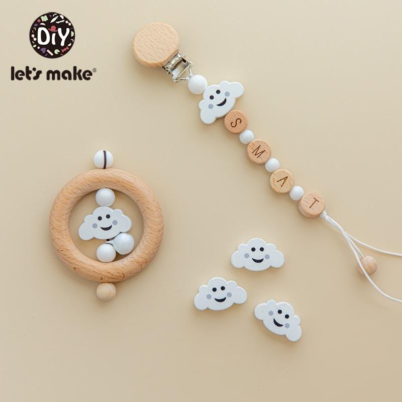 Let's Make Animal Beads 50pcs Food Grade Wood Bead Beech Wooden Clouds DIY Teething Nursing Mom Necklace Jewelry Making Teethers