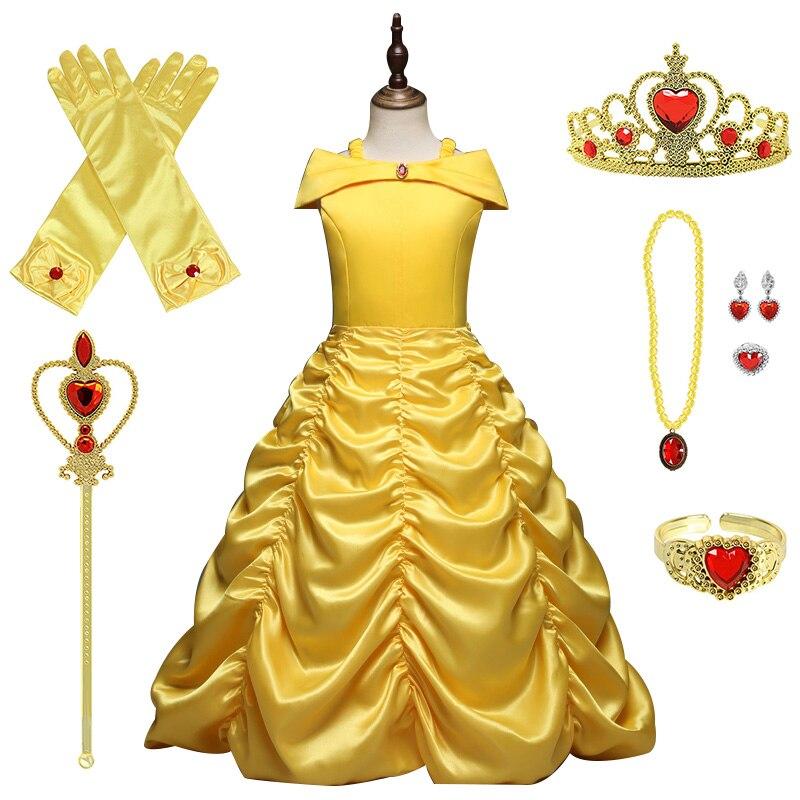 Vestido de princesa Belle para niña, disfraz de Anna de La Bella y La Bestia de verano para niñas de 6 a 8 a 10 años, ropa de Halloween para niños