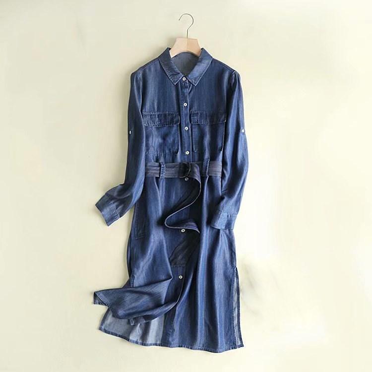 Autumn Casual Denim Long Coat Women Belt Pocket Long Sleeve Overcoat Light Blue Denim   Trench