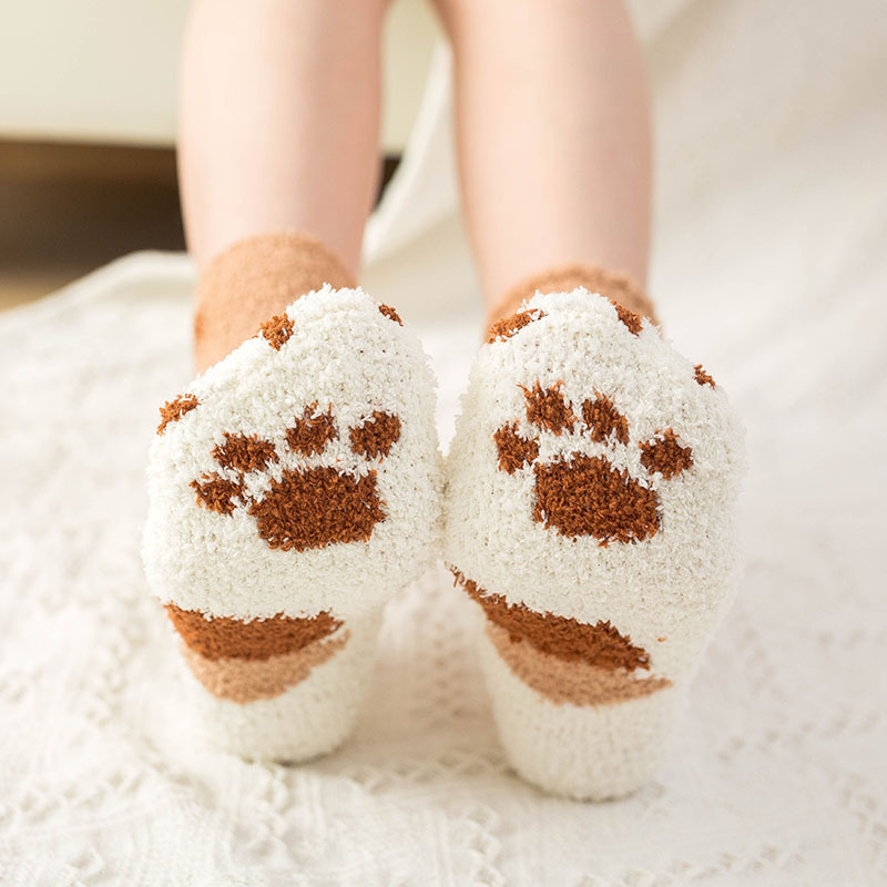 Women Creative Cat Claw Stripe Coral Fleece Thicken Warm Socks Girls  So So So  So Cute Street Casual Short Soft College Style
