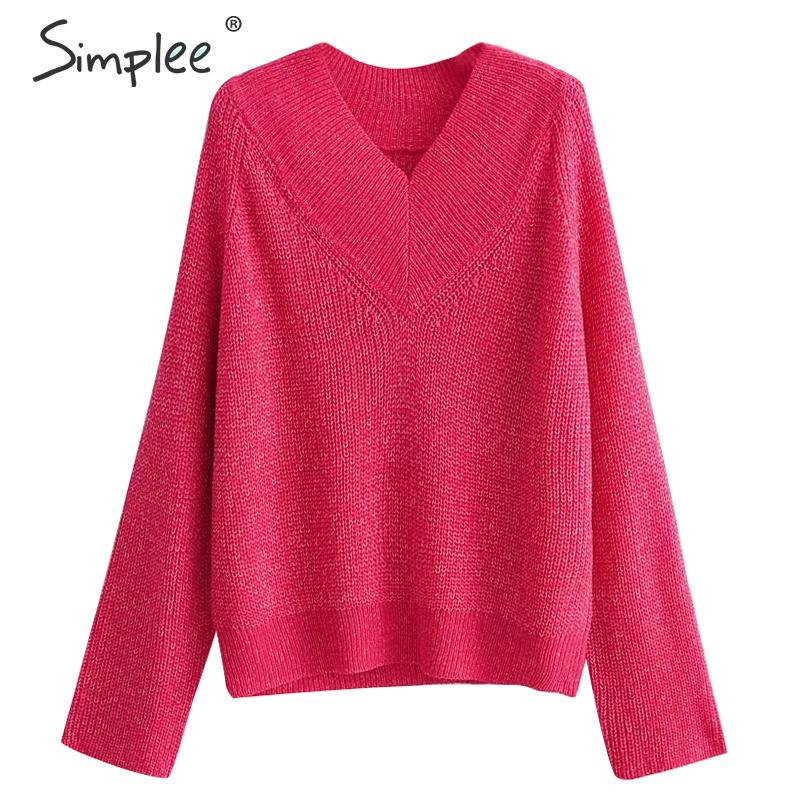 Simplee Casual Loose Women Knitted Pullover Sweaters Long Sleeve Autumn Winter Female Jumpers Trendy Streetwear Ladies Sweaters