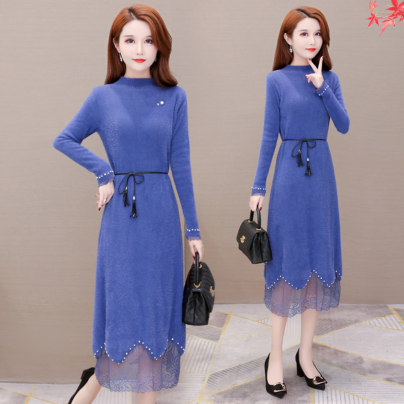 Fashion Faux Mink Cashmere Dress Women's 2019 Winter New Style Korean-style Slimming Elegant Elegant Mid-length Base Skirt