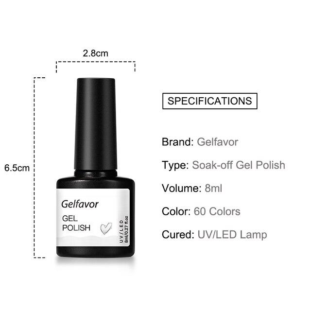 Gelfavor 8ml Gel Nail Polish Glitter For Manicure set nail art Semi platium UV LED Lamp Nail varnishes Base top coat Gel lacquer 6