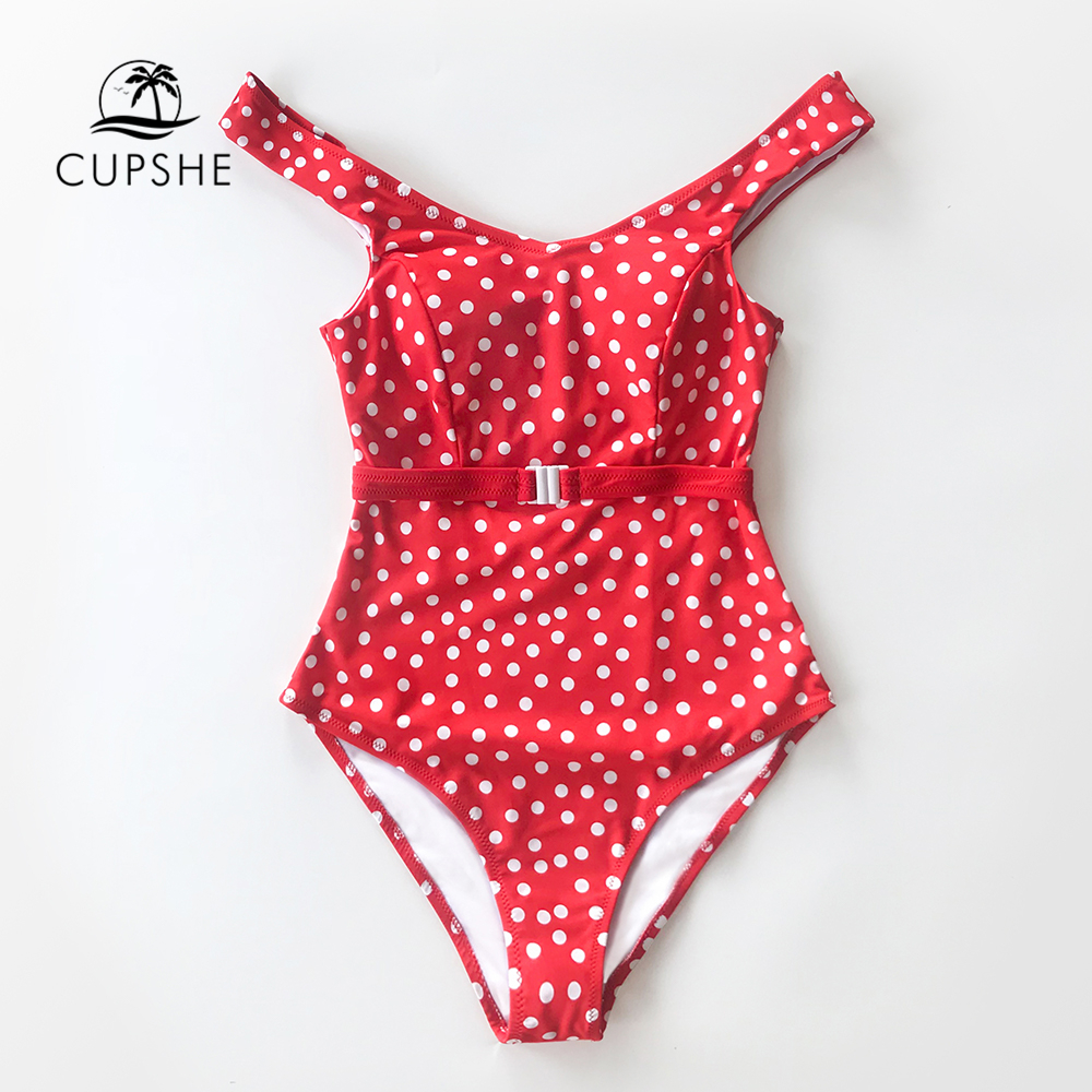 Image 3 - CUPSHE Red Polka Dot Belted One Piece Swimsuit Women Sexy Backless Cut Out Monokini 2020 Girls Beach Bathing Suit SwimwearBody Suits   -