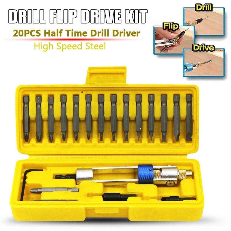 2019 New Drill Flip Drive Kit 20pcs Multi-function Drill Bit Set Quick Easy Operation L9 #2