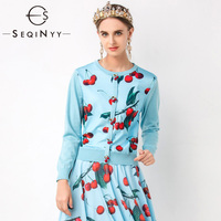 SEQINYY Blue Cardigans 2020 Spring Autumn New Fashion Design Women Knitting Spliced Cherry Printed Button Casual Top