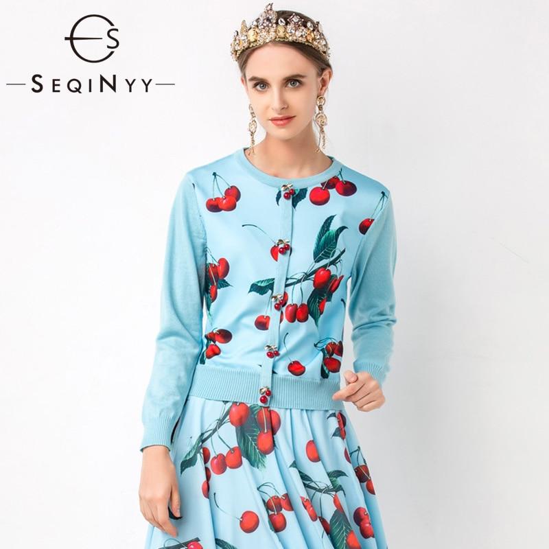 SEQINYY Cardigans bleus 2020 printemps automne nouveau Design de mode femmes tricot épissé cerise imprimé bouton haut décontracté