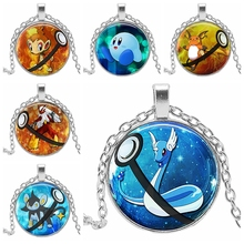 2019 Hot Creative Pokemon Time Crystal Glass Bullion Pendant Necklace Clothing Sweater Chain Jewelry