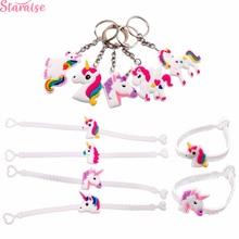 Staraise Unicorn Wristband Cute Key Chain Kids Birthday Party Favors Rubber Bracelet Supplies