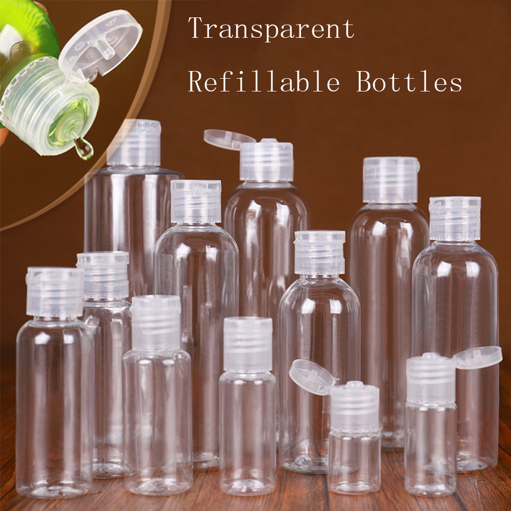 10/20/30/50/100ml Plastic PET Clear Flip Lid Lotion Bottles Cosmetic Shampoo Sample Containers Travel Liquid Refillable Bottle