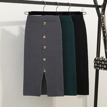Décontracté solide côtelé tricoté coton jupe femmes été moulante bouton jupes taille haute fendu Stretch Midi plissé noir gris