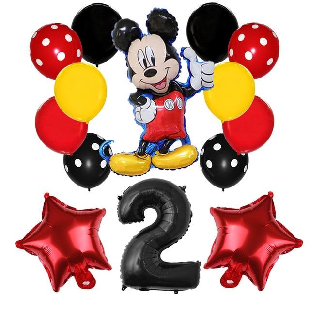 Ballons Mickey Mouse 14 pièces/lot   Décor de fête danniversaire Mickey Mouse, ballon nombres 32 pouces, ballons à pois