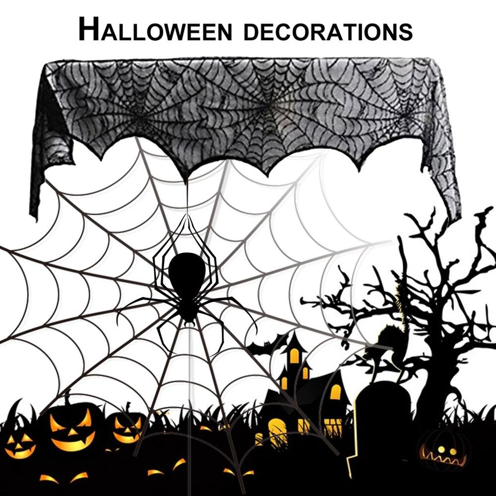 Large Size Special Black Lace Mantel Scarf Halloween Party Horror Home Decoration Mantel Door Window Scarf Cover