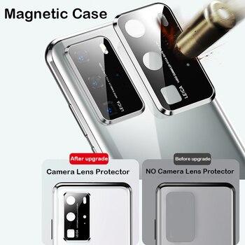 Перейти на Алиэкспресс и купить Магнитный чехол для Huawei P40 Pro Plus Coque Mate30 20X Nova7 Honor X10 MAX 30S V30 Защитная пленка для объектива камеры металлический бампер