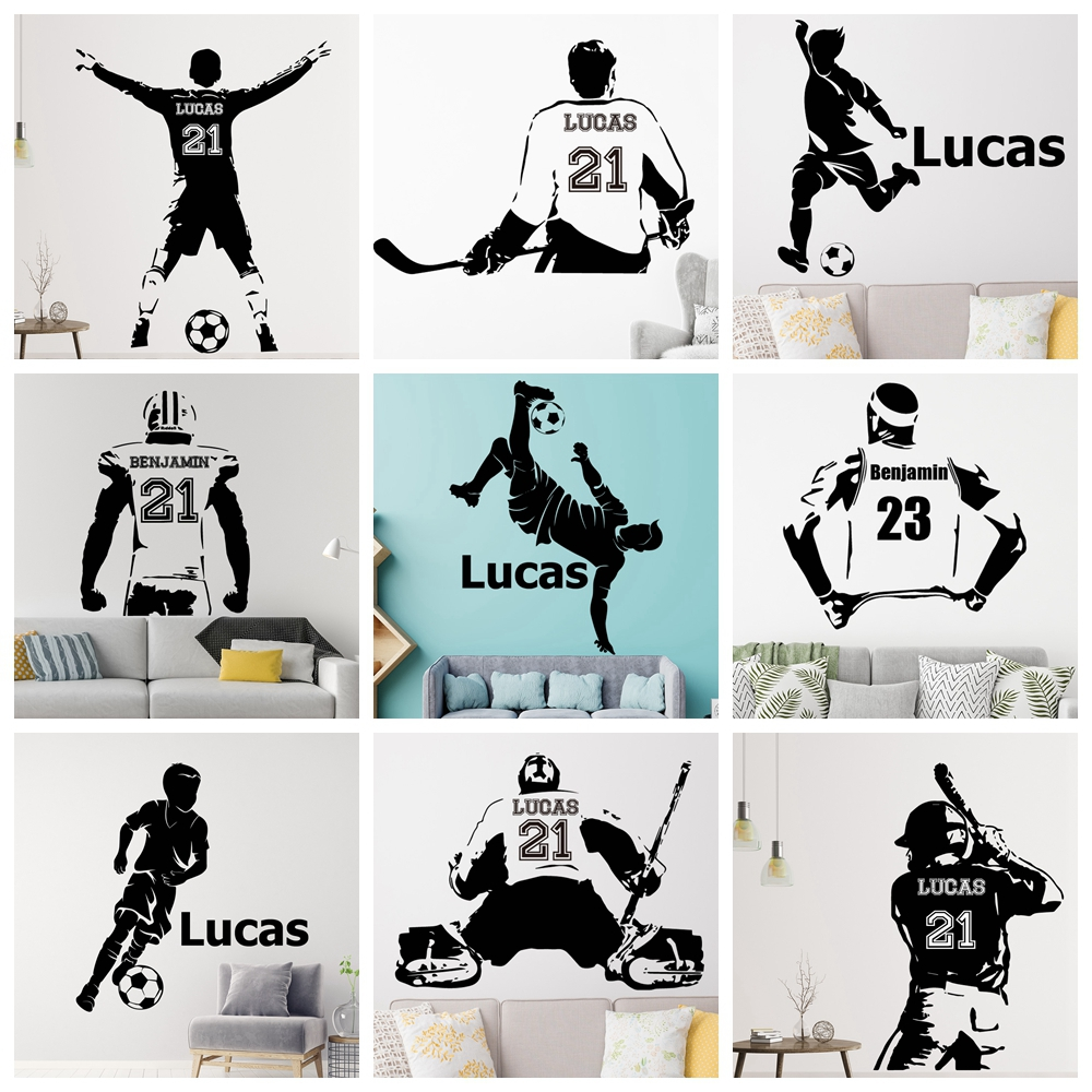 Hockey-Player Wall-Sticker Art-Decal Football Name Custom Home-Decor Living-Room Sports title=