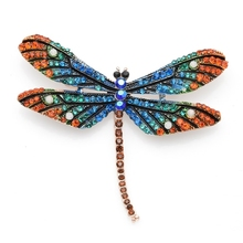 Multicolor Sparkling Dragonfly 2 colors Alloy Brooch Pins For Women Wedding Gift