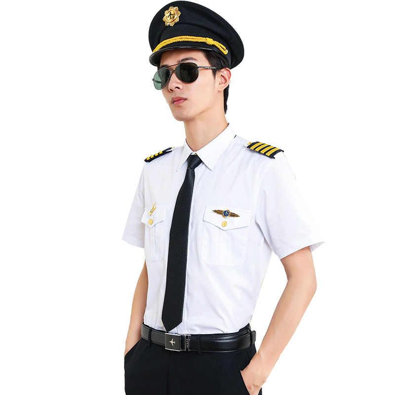 Camisa Piloto uniforme Piloto Avion camisas de línea aérea pelo estilista moda Slim Fit blanco ropa de trabajo aeronáutica militar de talla grande