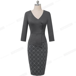 Image 4 - Nice forever Elegant Patchwork with Button Work Office vestidos Business Formal Bodycon Women Winter Dress B564