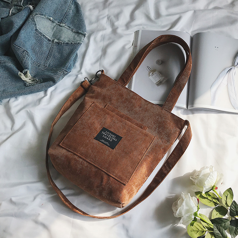New Women Corduroy Canvas Shoulder Bags Female Eco Cloth Handbag Tote Grocery Reusable Foldable Shopping Bag Cotton Lining