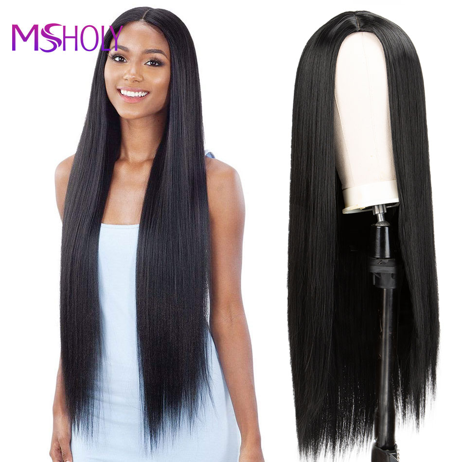 Peruca preta reta longa peruca de cabelo sintético com franja vermelho borgonha rosa ombre 613 loira perucas de cabelo longo para mulher msholy