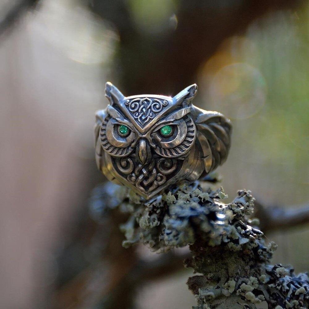 3D Сова Форма кольцо для Для женщин мужские глаза инкрустированные зелёный циркон, в стиле панк, в стиле «хип-хоп», ювелирные изделия, кольца ...